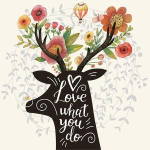 Love What You Do. Incredible Deer Silhouette with Awesome Flowers in Horns. Lovely Spring Concept D by smilewithjul