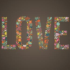 Love Word Made of Flowers, Birds and Leafs by smilewithjul