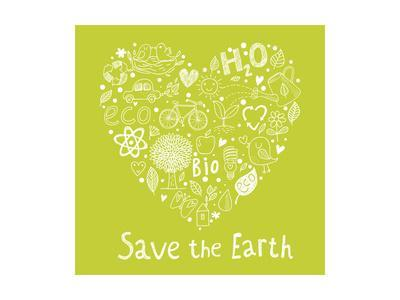 Save the Earth. Concept Ecology Wallpaper Made of Environment Symbols in Vector