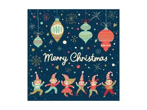 Vintage Merry Christmas Card in Vector. Funny Elves Dancing under the Snowfall. Cute Holiday Backgr by smilewithjul