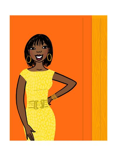 Smiling African-American Woman in Yellow Dress on Orange--Art Print