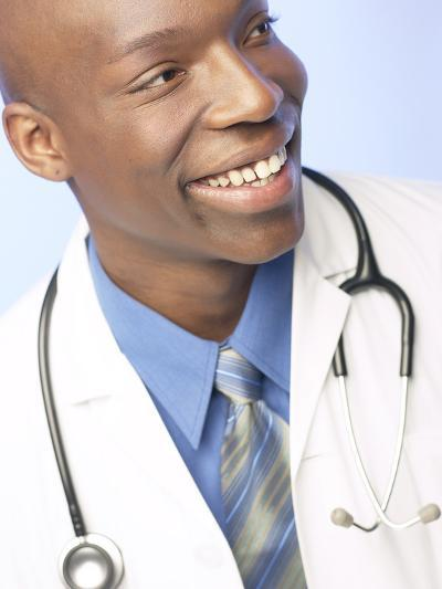 Smiling Doctor with Stethoscope Around His Neck--Photographic Print