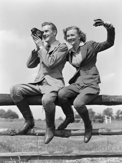 Smiling Equestrian Couple Both Are Wearing Jodhpurs-H^ Armstrong Roberts-Photographic Print