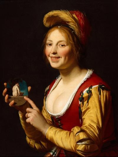 Smiling Girl, a Courtesan, Holding an Obscene Image, 1625-Gerrit van Honthorst-Giclee Print