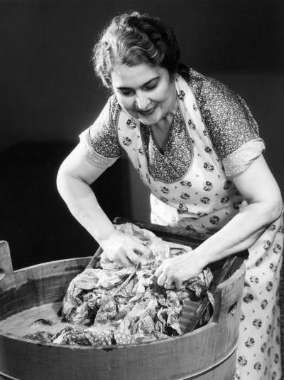 Smiling Housewife Doing Laundry-George Marks-Photographic Print