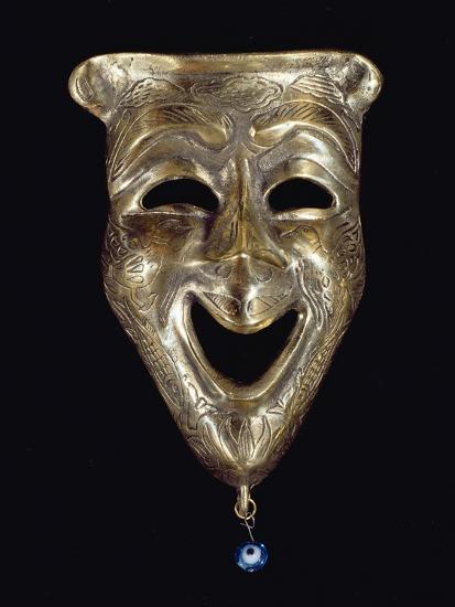 Smiling Mask with Incised Decoration and Attached Glass Eye--Giclee Print