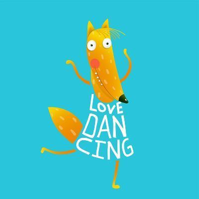 Smiling Orange Fox in Blue Dress Dancing with Text - Love Dancing. Hand Drawn Style. Cartoon Charac-Popmarleo-Art Print