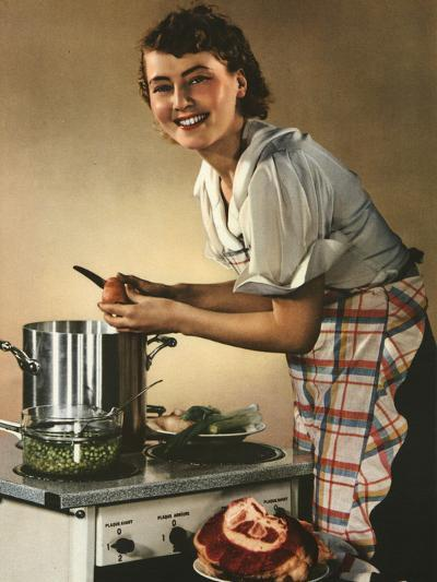 Smiling Woman Preparing a Wholesome Feast--Photographic Print
