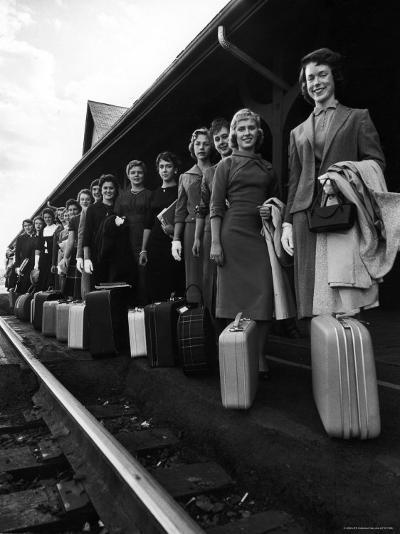 Smith College Girls Standing at Northampton Station with Their Suitcases-Yale Joel-Photographic Print