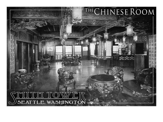 Smith Tower - Seattle, Washington - Chinese Room-Lantern Press-Art Print