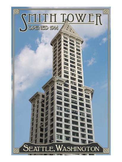 Smith Tower - Seattle, Washington - Exterior View 1-Lantern Press-Art Print
