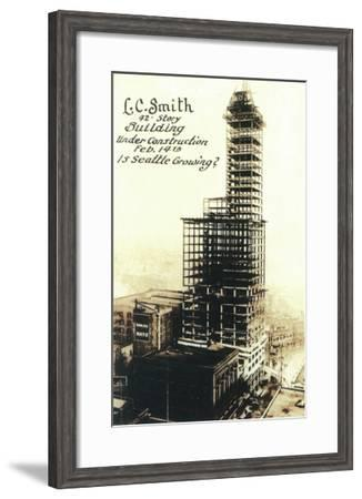 Smith Tower View with Construction - Seattle, WA-Lantern Press-Framed Art Print
