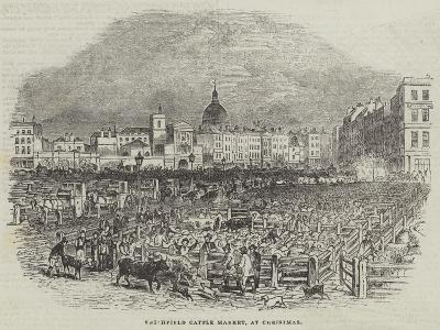 Smithfield Cattle Market, at Christmas--Giclee Print