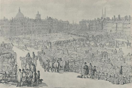 'Smithfield Market, 1810', 1920-Thomas Rowlandson-Giclee Print