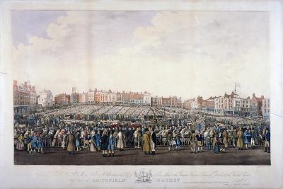 Smithfield Market, West Smithfield, City of London, C1825-Nathaniel Whittock-Giclee Print