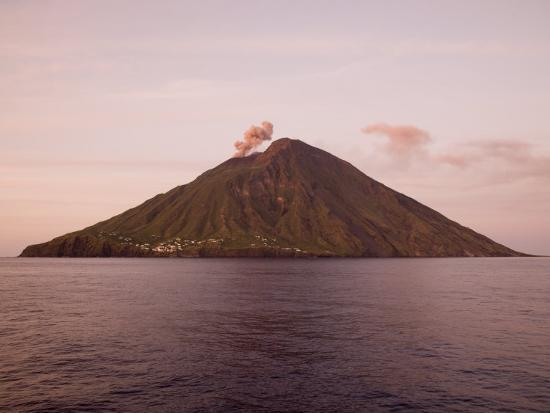 Smoke Coming Out of Stromboli Volcanic Island-Holger Leue-Photographic Print