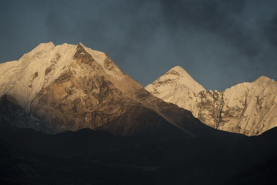 Smoke From A Village Home Passes Over The Mountains In Dingboche Nepal-Rebecca Gaal-Photographic Print