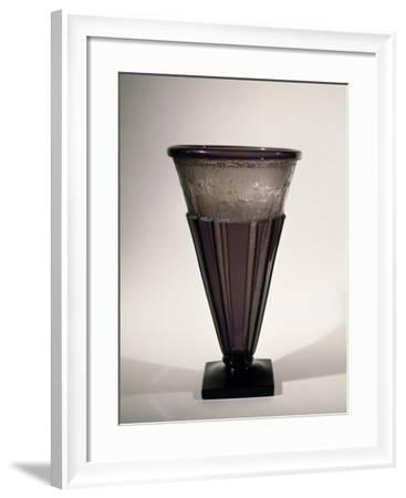Smoked Glass Vase Decorated with Rays in Relief, 1920-1929--Framed Giclee Print