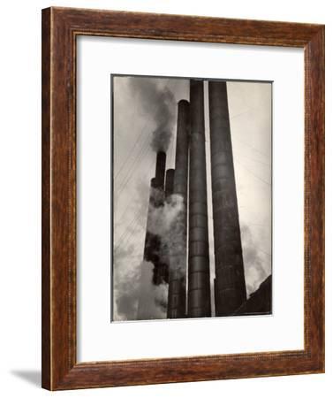 Smokestacks of Steel Plant, Taken from Boulevard of the Allies-Margaret Bourke-White-Framed Premium Photographic Print