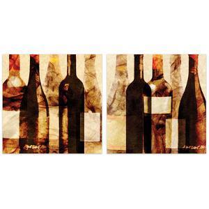 """Smokey Wine 3 & 4""Frameless Free Floating Tempered Art Glass Wall Art"