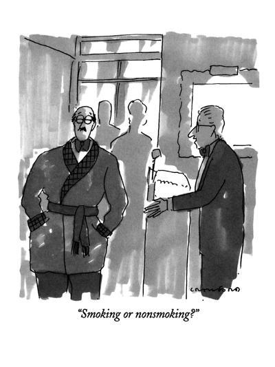 """Smoking or nonsmoking?"" - New Yorker Cartoon-Michael Crawford-Premium Giclee Print"