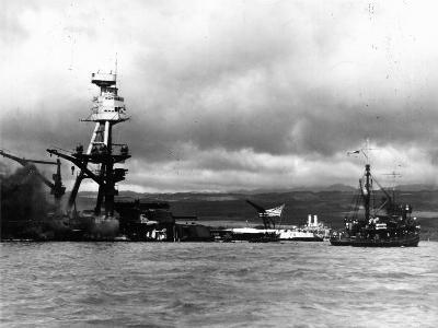 Smoking Wreckage of USS Battleship Arizona During Japanese Surprise Attack on the Pearl Harbor--Photographic Print