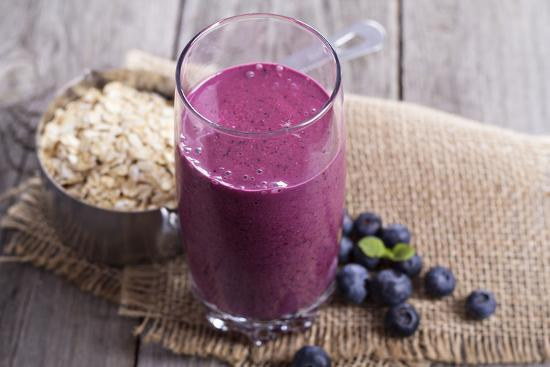 Smoothie with Blueberries and Oatmeal-Elena Veselova-Premium Photographic Print