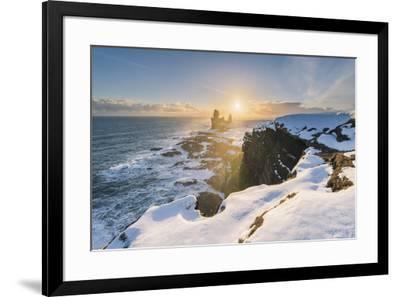 Snaefellsnes Peninsula, Western Iceland, Iceland. Londrangar sea stack and coastal cliffs at sunset-Marco Bottigelli-Framed Photographic Print
