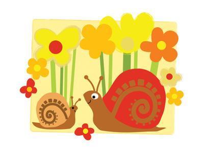 Snail Family in Flowers