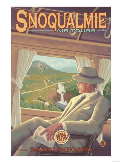 Snoqualmie by Air, Snoqualmie Falls, Washington-Lantern Press-Art Print