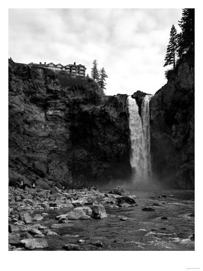 Snoqualmie Falls, Washington - View from Below Falls-Lantern Press-Art Print