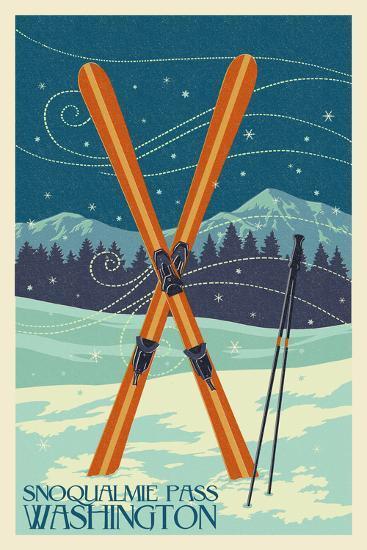 Snoqualmie Pass, Washington - Crossed Skis - Letterpress-Lantern Press-Wall Mural
