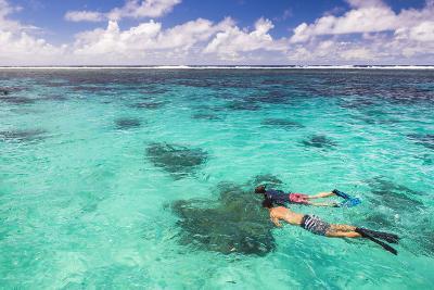 Snorkeling in Muri Lagoon on Captain Tama's Lagoon Cruises, Rarotonga, Cook Islands, Pacific-Matthew Williams-Ellis-Photographic Print