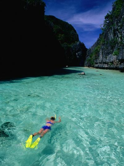 Snorkelling in the Big Lagoon, El Nido, Miniloc Island, Palawan, Philippines-Mark Daffey-Photographic Print