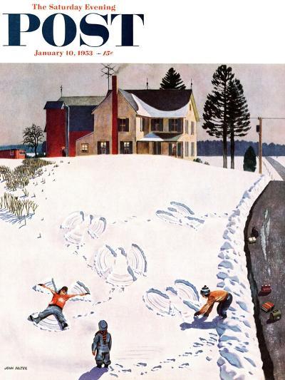 """Snow Angels"" Saturday Evening Post Cover, January 10, 1953-John Falter-Premium Giclee Print"