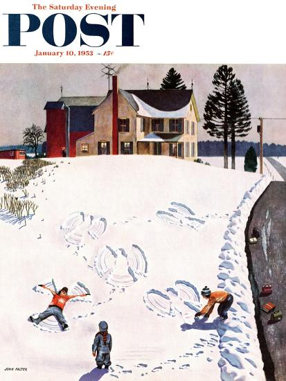 """Snow Angels"" Saturday Evening Post Cover, January 10, 1953-John Falter-Giclee Print"