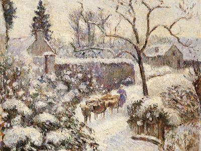Snow at Montfoucault, 1891-Camille Pissarro-Giclee Print