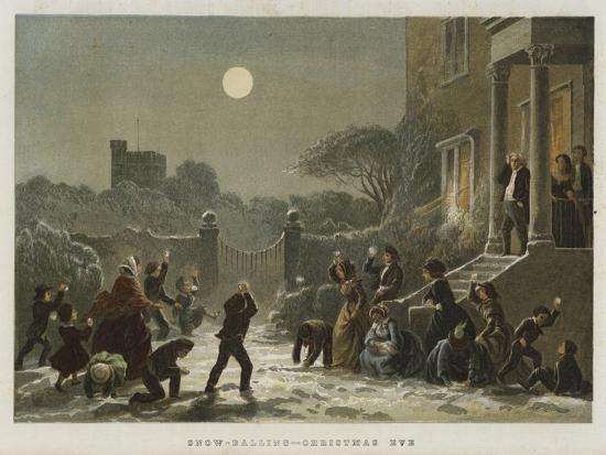Snow-Balling, Christmas Eve--Giclee Print