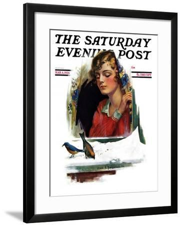 """""""Snow Birds,"""" Saturday Evening Post Cover, March 6, 1926-Charles A. MacLellan-Framed Giclee Print"""