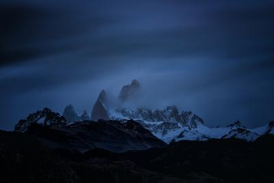 Snow-Blanketed Andes Mountains at Night with Flowing Clouds--Photographic Print
