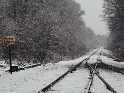 Snow Blanketed Railroad Tracks, Courtland, Virginia--Photographic Print