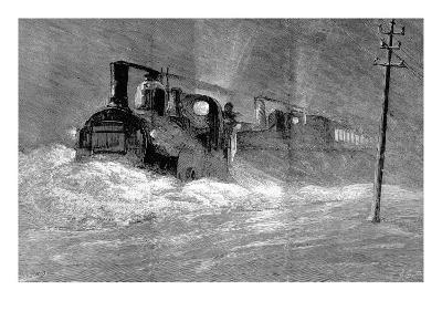 Snow Blizzard Blocking the North Eastern Train--Giclee Print