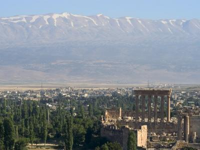 Snow Capped Mountains of the Anti-Lebanon Range Behind the Roman Archaeological Site, Lebanon-Christian Kober-Photographic Print