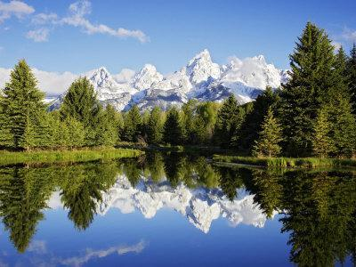 Snow-Capped Teton Range Reflected in Snake River, Wyoming, USA-Mark Hamblin-Photographic Print