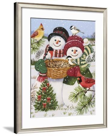 Snow Couple Feeding Birds-William Vanderdasson-Framed Giclee Print