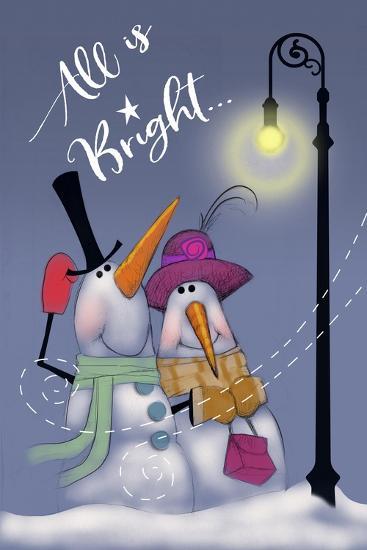 Snow Couple In Streetlight-Margaret Wilson-Giclee Print