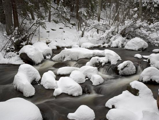 Snow-Covered Boulders and Flowing Creek, Glacier Creek, Rocky Mountain National Park, Colorado, USA-James Hager-Photographic Print