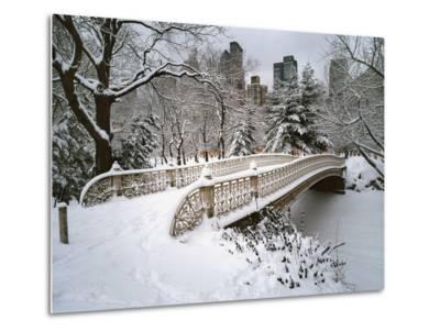 Snow Covered Bridge Central Park-Henri Silberman-Metal Print