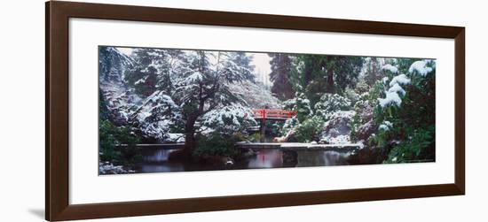 Snow Covered Bridge in the Kabota Garden, Seattle, Washington, USA-Terry Eggers-Framed Photographic Print