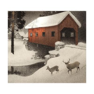 Snow Covered Bridge--Art Print